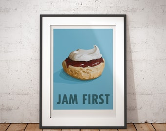 Cream Tea - Jam First - signed poster print