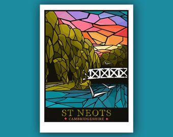 St Neots, Cambridgeshire, Stained Glass Art Print - signed travel poster print