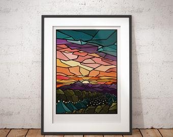 Glastonbury Festival, Stained Glass Art Print - signed travel poster print