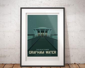 Grafham Water, Valve Tower, Cambridgeshire, England, UK - signed travel poster print