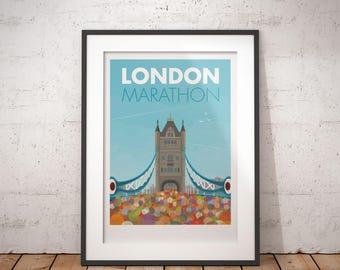 London Marathon, London, England, UK - signed travel poster print