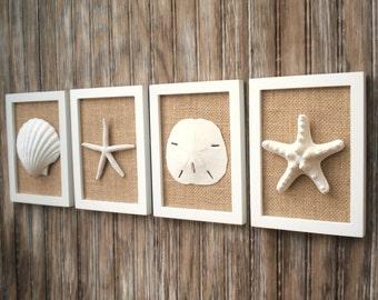 Beach Cottage Chic Wall Art, Nautical Decor, Beach House Wall Decor, Coastal Decor, Beach Decor, Coastal Wall Art, White & Natural Burlap