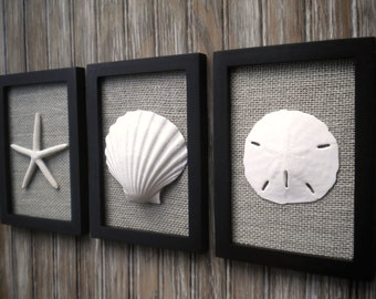 Cottage Chic Set of Beach Wall Art, Nautical Decor, Beach House Wall Decor, Sea Shell Art, Wall Decor, Wall Art, Black Frame wth Grey Burlap