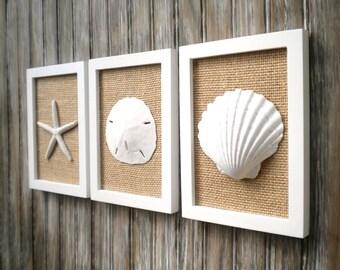 Cottage Chic Set of Beach Decor Wall Art, Sea Shell Home Decor, Beach House Wall Decor, Wall Art, Coastal Decor, Coastal Art, White & Burlap