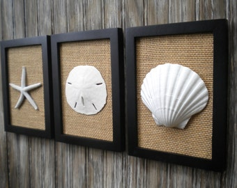 Cottage Chic Set of Beach Decor Wall Art, Bathroom Decor,Beach House Decor, Bathroom Art, Nautical Decor, Wedding Gift, Coastal Decor, Gift