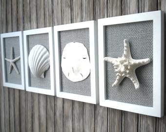 Cottage Chic Set of Beach Wall Art, Nautical Decor, Beach House Wall Decor, Sea Shell Art, Beach Decor, Coastal Art, White with Grey Burlap