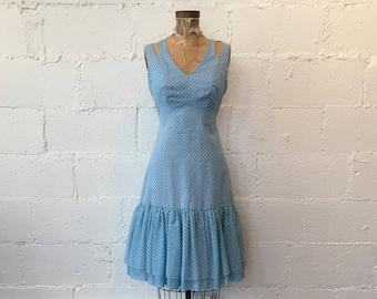 1960s Blue Polka Dot Dress // 60s Strappy Shoulder Blue White Stripe Dots Dress // Vintage Sky Blue and White 60s Dress