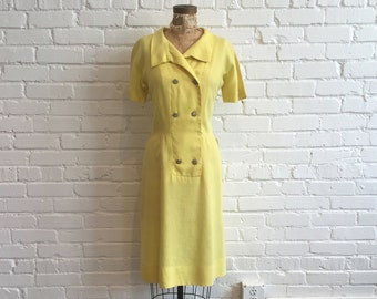 1960s Yellow Linen Dress  // 60s Yellow Daisy Dress // Vintage 60s Diner Style Dress