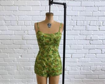 1960s Green Orange Yellow Floral Playsuit  // 60s Green Floral Bathing Suit  // Vintage Retro Swim Suit