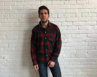 1970s Men's Woolrich Work Jacket // 70s Men's Work Shirt  // Vintage 1970s Plaid Wool Suede Overshirt