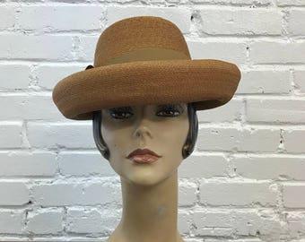 1950s Schiaparelli Hat  // Vintage 1950s Brown Straw Hat with Ribbon // 50s Beige Parisian Hat