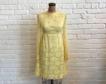 9e527ee3aa0 1960s Yellow Lace Baby Doll Dress    60s Empire Waist Mini Lace Dress    Vintage  60s Yellow Lace Lace Dress
