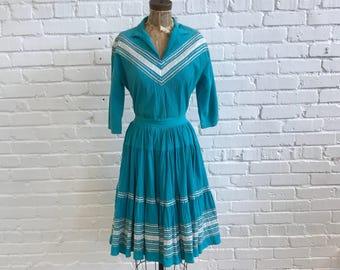 1950s Teal Southwestern Patio Set // 50s Turquoise Thunderbird Fashions Blouse and Skirt Set  // 1950s Crinkle Cotton Ric Rac Set