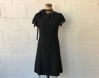 1960s R&K Originals Black Dress  // 60s Black Dahlia Dress // Vintage Black Dress Rhinestone Studded