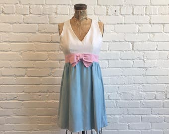 1960s Blue and Pink Baby Doll Dress  // 60s White Pink Blue Bow Mini Dress // Vintage 1960s Dress