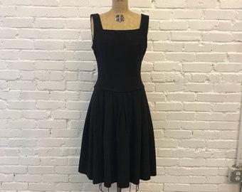 1960s Gray Drop Waist Wool Dress  // 60s Dark Gray Wool Jumper // Vintage American Woolen Co. Charcoal Dress