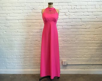 1970s Hot Pink Maxi Dress // 70s Disco Dress with Bolero  // Vintage Full Length Strappy Pink 70s Dress