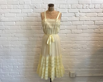 1950s Yellow Eyelet Nightgown  // 40s Yellow Eyelet Gown with Satin Straps and Sash // Vintage 1950s Colony Club Sheer Night Gown