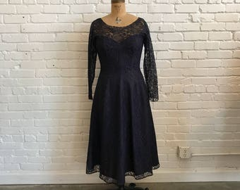1950s Navy Lace Sweetheart Dress  // 50s Long Sleeve Navy Lace and Acetate Fit and Flare  // Vintage 1950s Mid Century New Look Dress