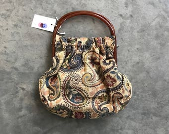1960s Tapestry Sewing Bag // Vintage 1960s Amber Handled Paisley Hand Bag // Vintage Floral Paisley Purse