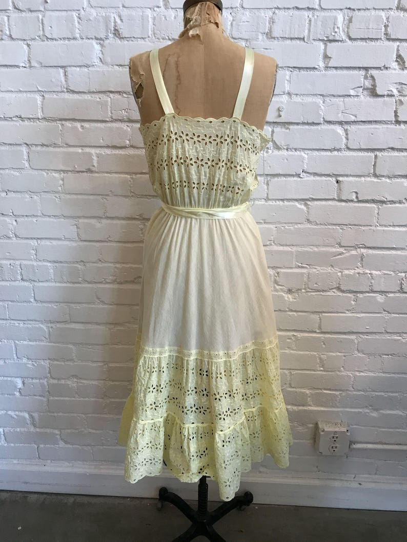 1950s Yellow Eyelet Nightgown   40s Yellow Eyelet Gown with Satin Straps and Sash  Vintage 1950s Colony Club Sheer Night Gown