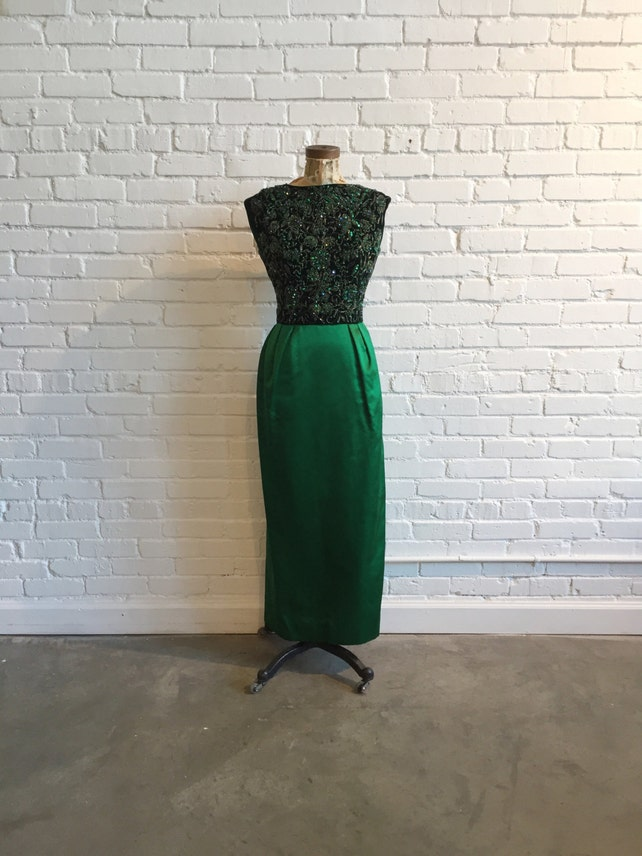 1950s Pat Sandler for Highlight Emerald Evening Gown // 50s | Etsy