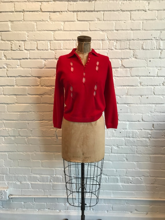 1950s Maid O'Fur Brownie Knitting Mills Sweater //