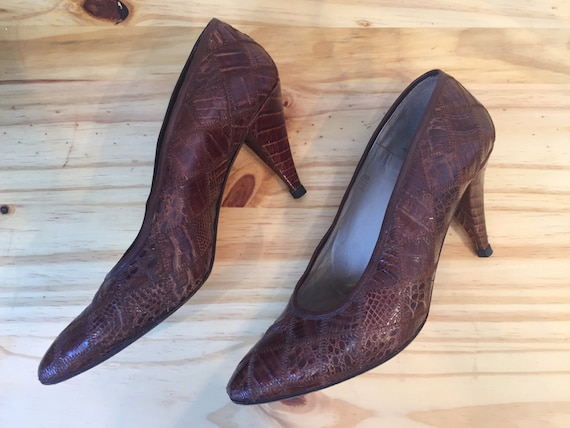 1980s Garolini Pumps  // 80s Patchwork Skin Heels