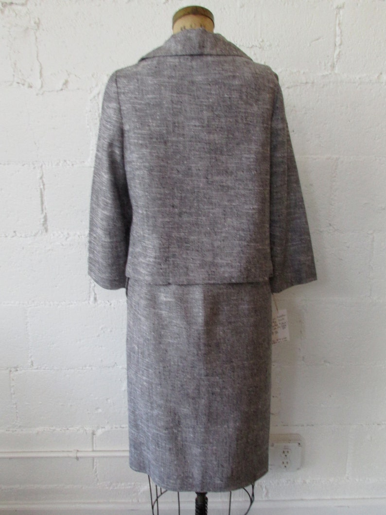 1950s Grey Linen 2 Piece Set  50s Heather Gray Jacket and Skirt Set  Vintage 1950s Matching Suit