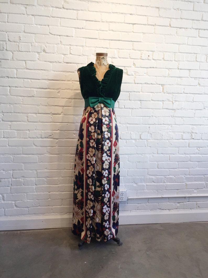 20d571b642 1960s Green Formal Full Length Dress    60s Green Velvet and