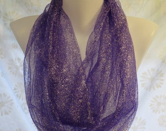 Sparkly Purple Scarf, Silver Infinity scarf, purple lover scarf, Wedding scarf, Bridesmaid gift, Graduation gift, co-worker gift
