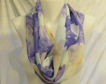 Silky Purple Scarf, Sheer Lavender scarf, Violet Flowers Scarf, Birthday gift scarf, Wedding scarf, co-worker gift