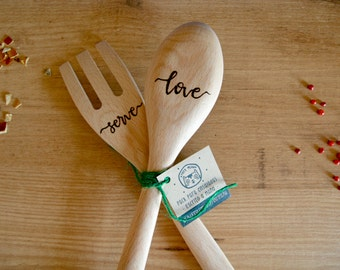Hand-carved wooden spoons for salad.
