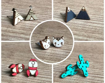 Cats Earrings-Cactus-tipis-mountains-rockets