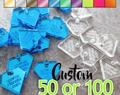 Custom Jewelry Tags - diamond shaped, CHOOSE 1 COLOR, qty 50 or 100, clear, mirrored, neon, your text, engraved