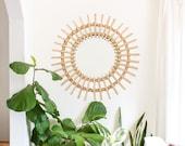 Wicker round mirror, boho decor. handmade in 2 different sizes.