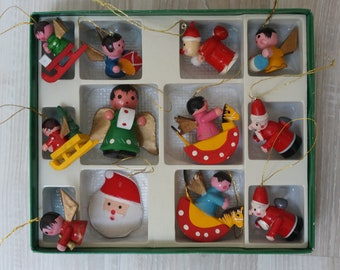 12 German Erzgebirge ornaments dolls angels musicians on rocking horse santa Vintage Christmas wooden Figurine made in Germany set lot DDR
