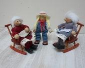 3 German wooden dolls grandmother granny on rocking chair girl peg Erzgebirge folk figurine Vintage wooden Retro made in Germany set