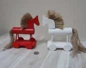 Large Scandinavian or Erzgebirge size horse ornament Figurine Kid Toy Vintage Retro wooden home Decor putz Christmas decor big on wheels