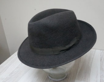 Size 7 Gray Italian Borini Homburg Hat felted fedora cap men Retro Vintage  Vintage elegant old wool classic with ribbon Derby Bowler 05012aec1d52