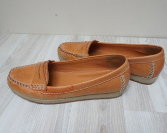 076a63cebcabf US 5.5 GEOX loafers tan shoes boots Women real genuine leather size 3 UK  35.5 Europe vintage made in Italy Italian flat moccasin orange