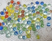 100 Vintage marble lot bulk of marbles small cat eye swirl retro multi color mix multicolor assorted red green blue yellow orange nos new