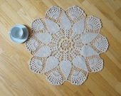 Large round doily Table runner Vintage Retro off white lace wedding handmade knitted crochet cottage chic knitting snowflake flower cotton