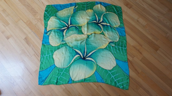Charlotte Sparre Scarf Shawl large silk flower floral print made in Denmark Retro green turquoise aqua yellow vintage square rolled edges
