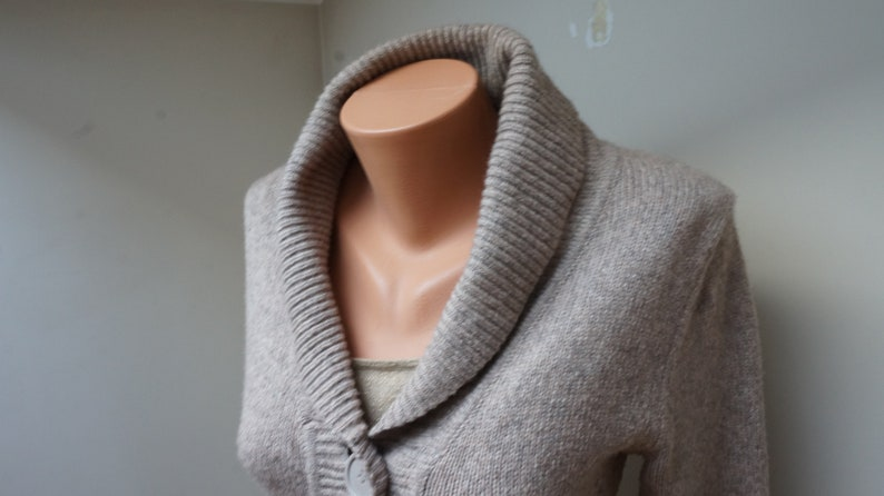 Mohair beige Sweater tunic cardigan Women Girl long sleeve Retro size S M small medium vintage knitted chunky collar button up warm wool