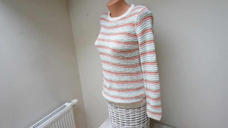 Stripe pastel Sweater Women Girl pullover orange green blue white striped Retro jeans size S M small medium vintage knitted chunky oversized