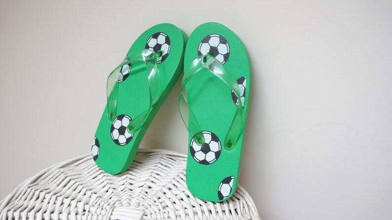 6a28c9b1d Children flip flops green soccer print Classic Vintage Shoes | Etsy