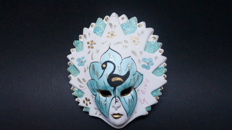 Hanging Venetian mask porcelain handmade signed ornament wall decor vintage made in Italy retro carnival Masquerade peacock on face china