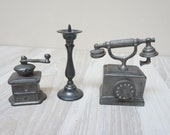1 6 scale 3 Dollhouse Miniature candlestick telephone coffee grinder candle holder pewter Toy Metal Vintage gray play playscale doll house