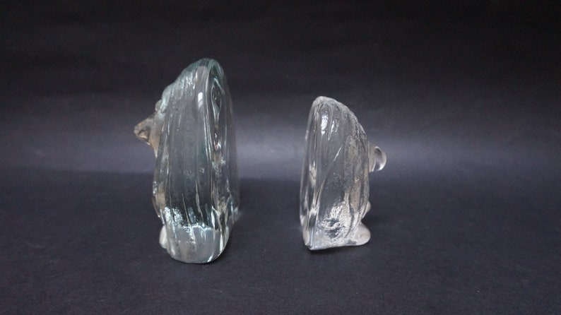 3 Little troll Handmade crystal Figurine clear glass face Vintage Retro Swedish bookend made in Sweden Bergdala paperweight figure sculpture
